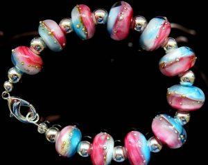 armband-blauw-roze-zilver